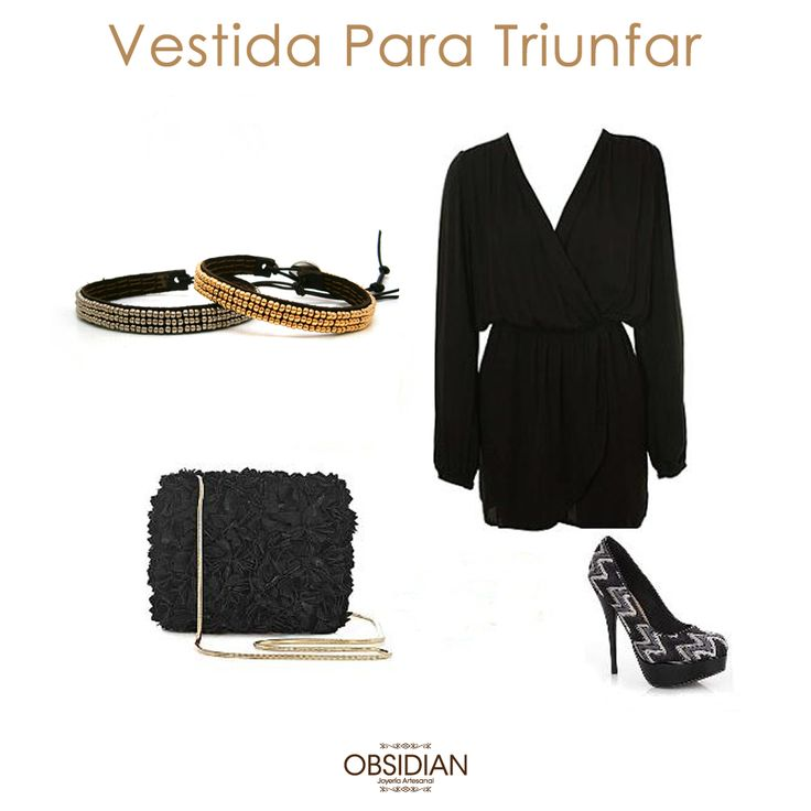 Vestida para Triunfar Con accesorios de Obsidian #Joyas