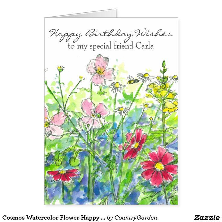 Cosmos Watercolor Flower Happy Birthday Friend Card
