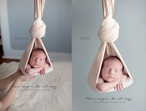 Image of ivory hanging newborn sling photography prop