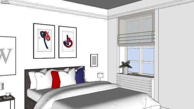 дизайн интерьера спальной комнаты в программе Sketch Up(модель бесплатна)  interior design of the bedroom in Sketch Up (model is free)