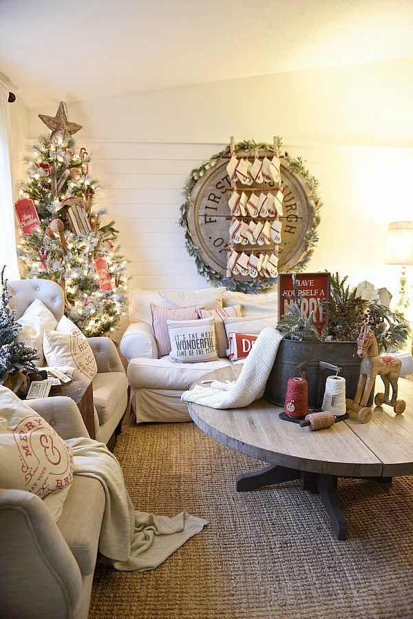 Cozy Cottage Christmas Living Room - Tour this rustic cottage christmas living room & all of it's lovely details.