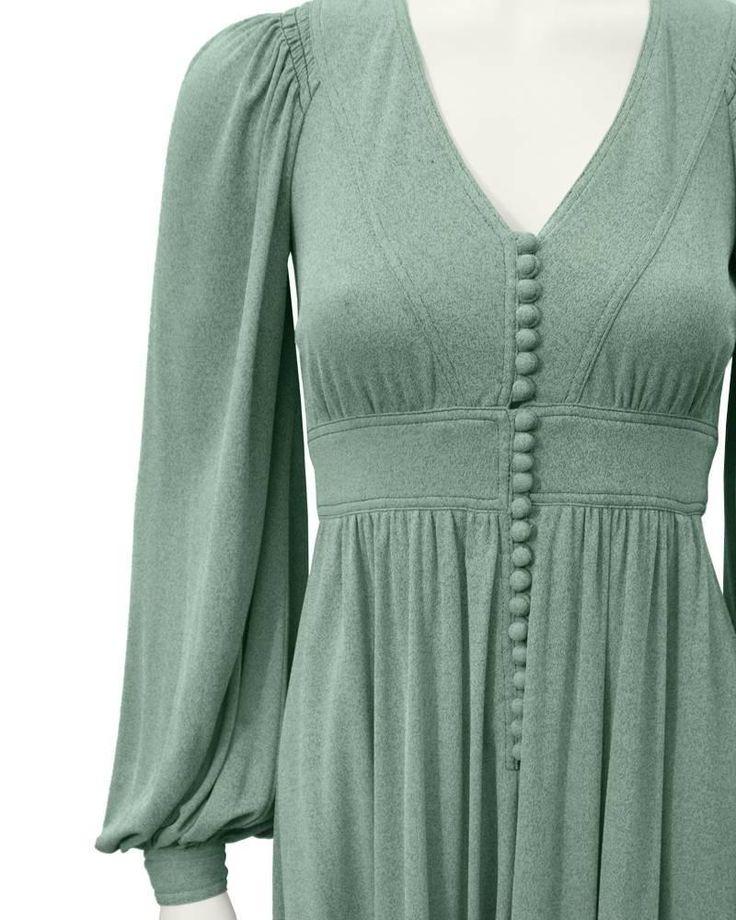 1970's Jean Muir Green Day Dress  4