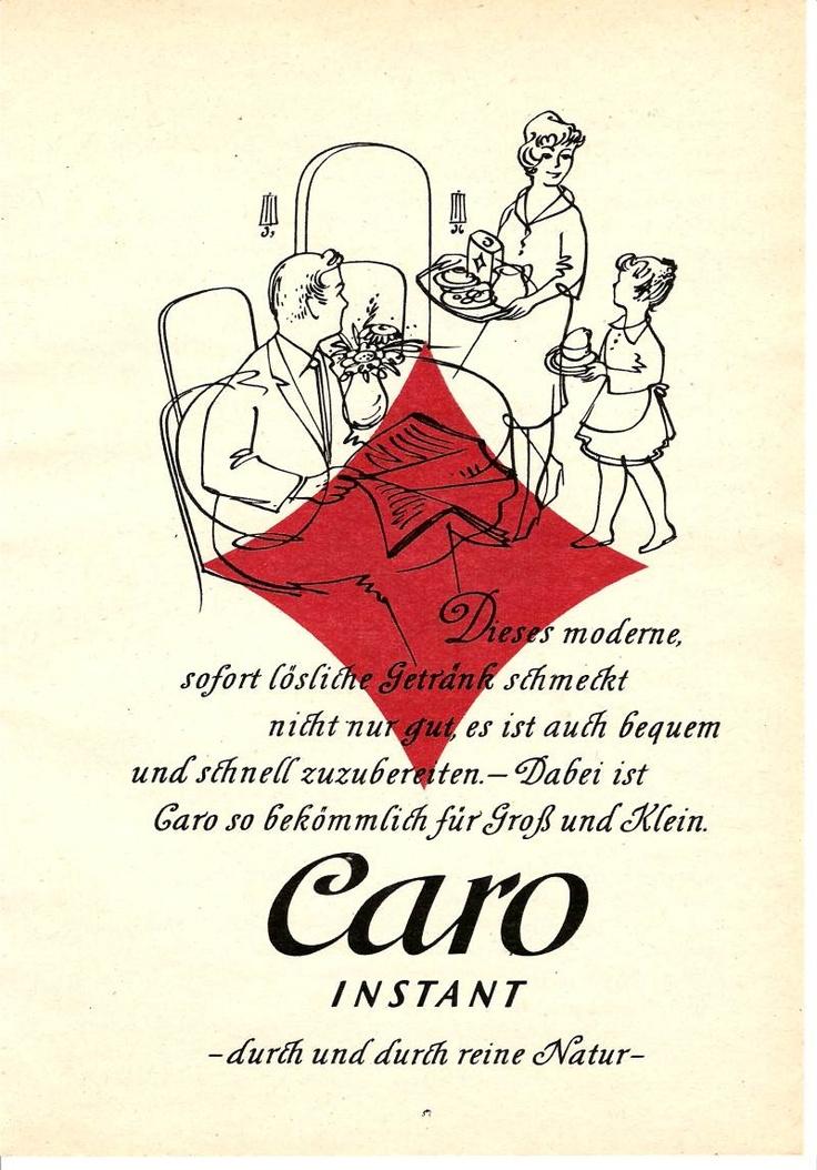 Caro Landkaffee war (und ist) ein beliebtes Getränk für Jung und Alt.  Da der Getreidekaffee kein Koffein enthielt, durften wir ihn auch als Kinder trinken, wie auch diese Werbung von 1960 deutlich macht.
