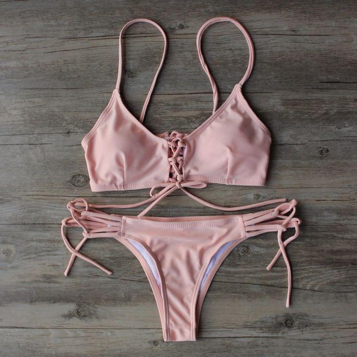 2016 Swimwear Bandage Brazilian Bikini Set #bikini #swimsuits #swimwear
