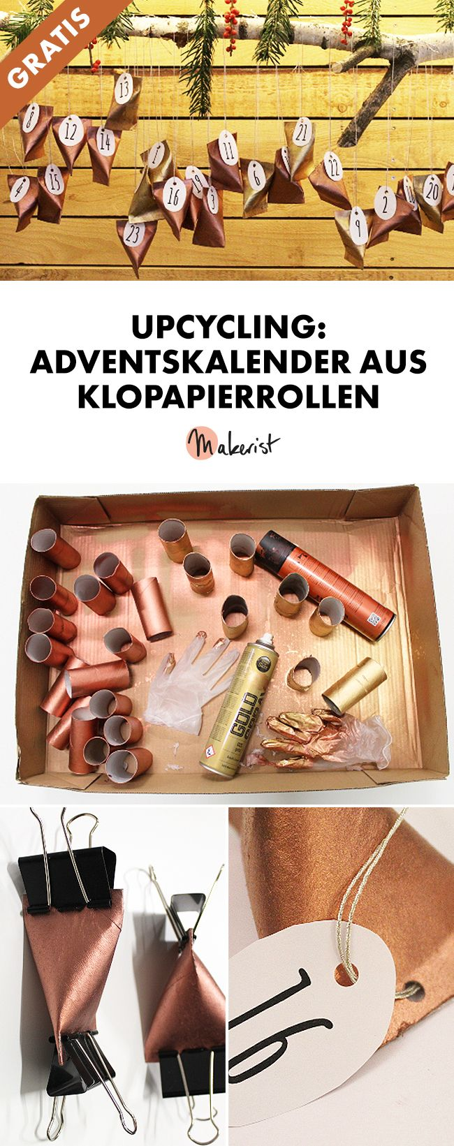 Upcycling: Adventskalender aus Klopapierrollen basteln - Gratis-DIY-Anleitung via Makerist.de
