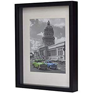 BD ART 28 x 35 cm 3D Box Bilderrahmen Schwarz mit Passepartout 20 x 25 cm Glassc…