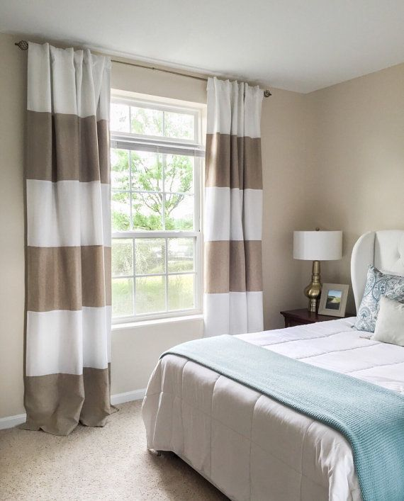 """Fashion Stripe Rustic Curtain Yarn Bedroom Living Room: 108""""L *BLACKOUT LINED PAIR* Tan And White Striped Faux"""