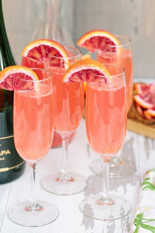Lemonade Mimosas With Blood Orange Put a twist on the popular brunch cocktail (not to mention a punch of pink) with blood oranges.