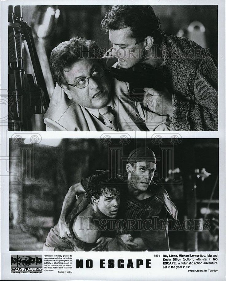 1994 Press Photo Ray Liotta Actor Michael Lerner Kevin Dillon No Escape Movie