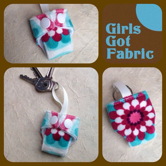 Cloth Diaper Cloth Nappy Mini Keychain Keyring by GirlsGotFabric