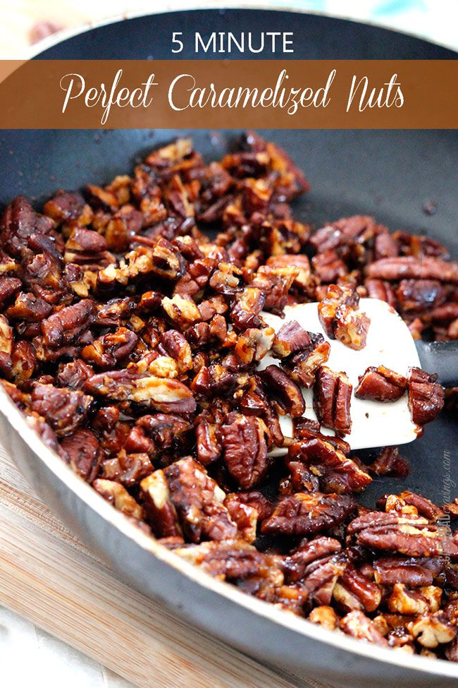 5 Minute Perfect Caramelized Nuts - everyone needs this EASY recipe! Add addictingly delicious caramelized crunch to salads, popcorn, dessert and vegetables in just 5 minutes!