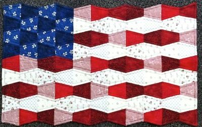 Flag quilt made from little shot pieces