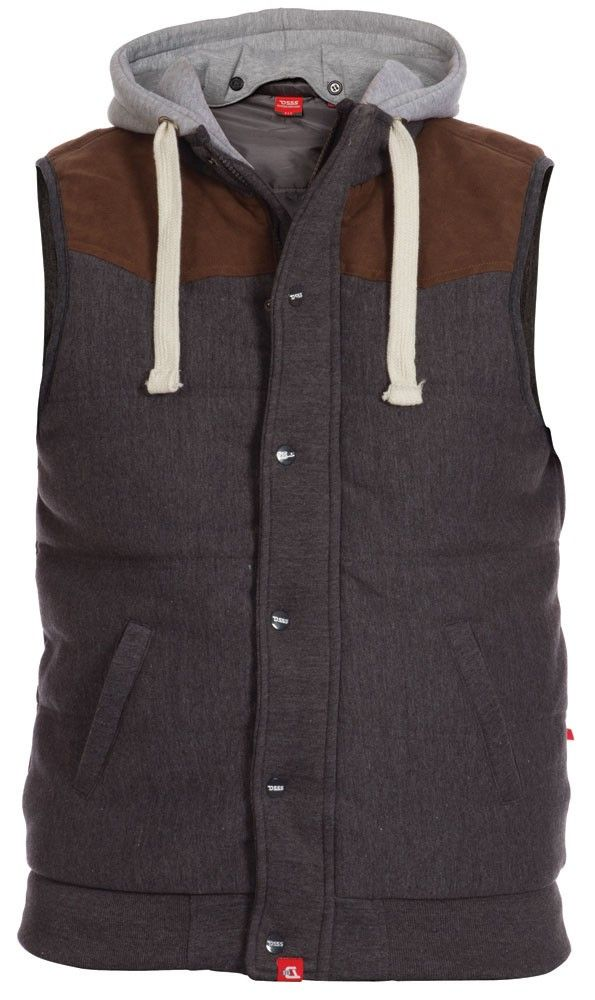 Quality Large size mens clothes, big clothes for men, clothes for big men. Large size trousers. D555 Mens Quilted Fleece Waistcoat Gilet With Detachable Hood and Suede Shoulder Panel -Big and Tall Menswear.