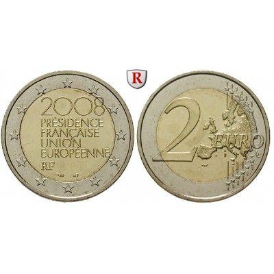 Frankreich, V. Republik, 2 Euro 2008, bfr.: V. Republik seit 1958. Kupfer-Nickel-2 Euro 2008. EU-Ratspräsidentschaft. bankfrisch… #coins