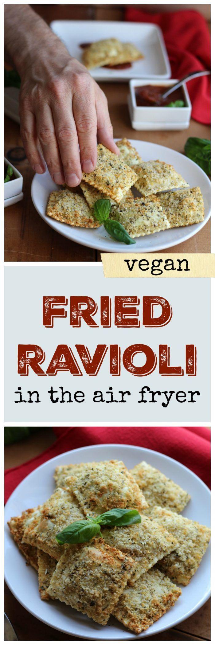 Perfectly crisp vegan fried ravioli in the air fry…