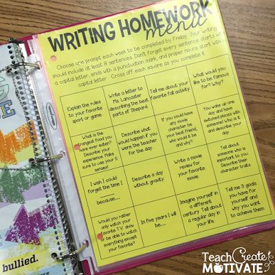 Easy Writing Homework - FREEBIE!