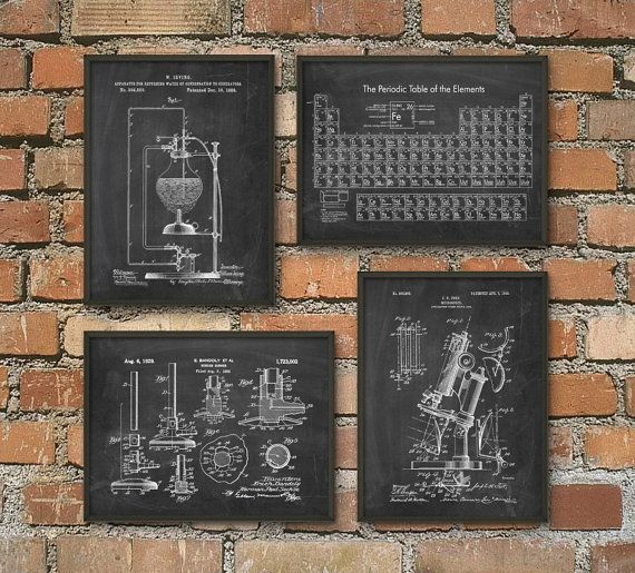 quirky interior retro , vintage or contemporary design art for boys room , office or dining room Science Patent Prints Set of 4  Chemistry Wall by QuantumPrints