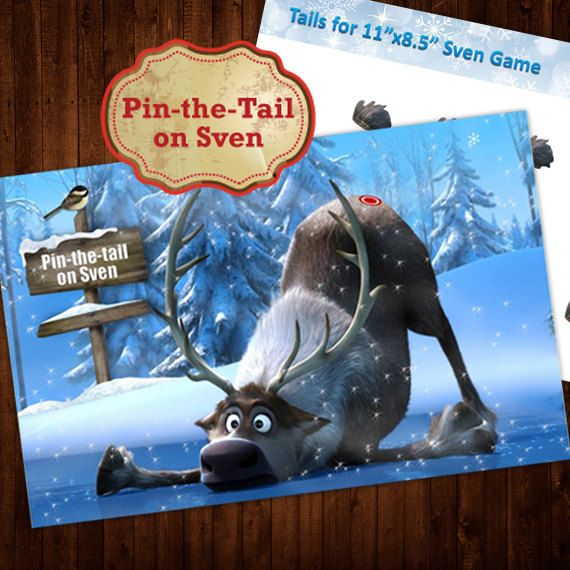 Pin the Tail on Sven Frozen Party Game Game Frozen party games and Sven frozen