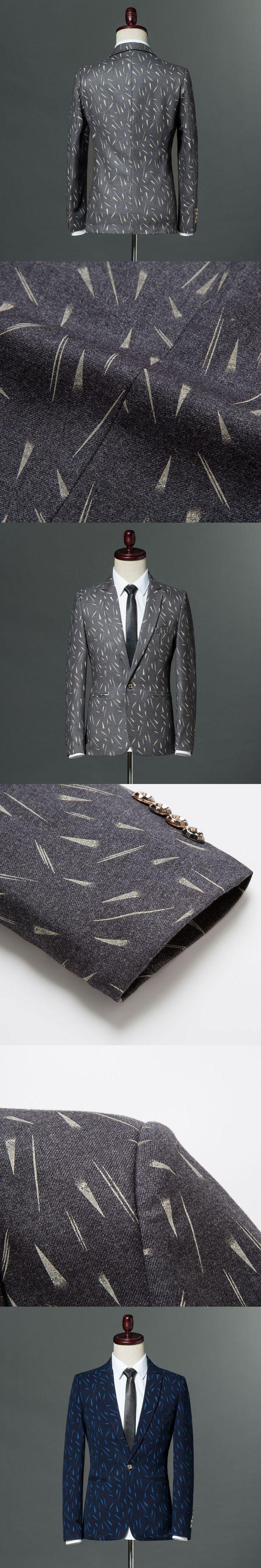 Navy Blue Dark grey Printed Fashion Blazer Masculino 2018 Brand Slim Fit Single Button Blazer Jackets S-2XL Wedding Party Jacket
