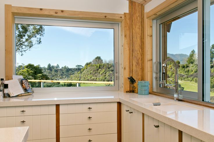 Recreate this look using the EcoGranit Aoraki and Egmont sinks, Otto chrome tap and Eurostone Canadian White bench top, all from: www.heritagehardware.co.nz