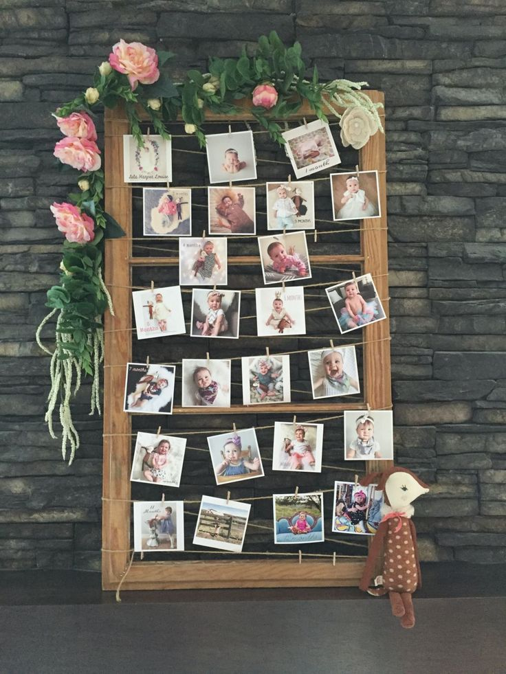 Adorable little photo display for a party. Love the floral boarder!