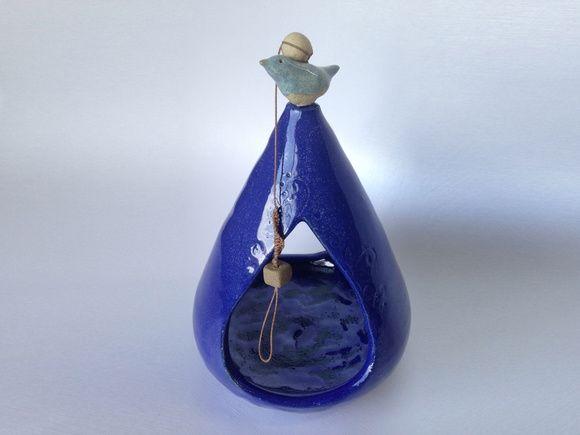 Comedouro para passarinho, ceramica alta temperatura azul