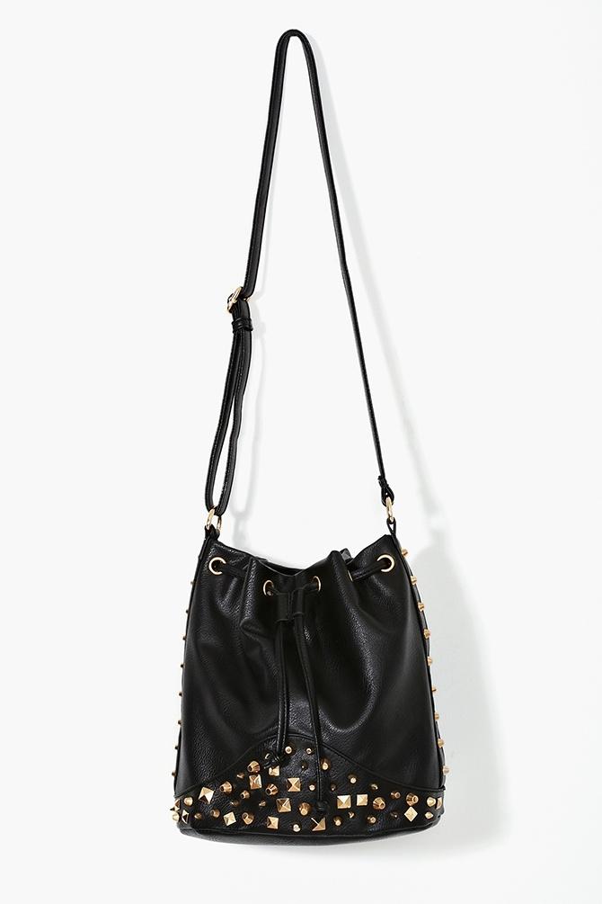 Black Studded Over The Shoulder Bag 89