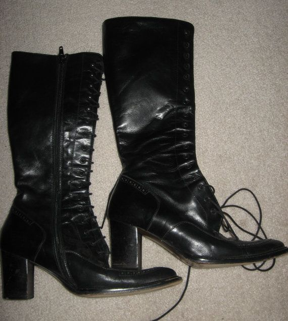 These Boots are made for Walkin' Vintage Goth LACE Up BOOTS Black Leather Italy Oreazioni Avitto Vintage Clothing c1990