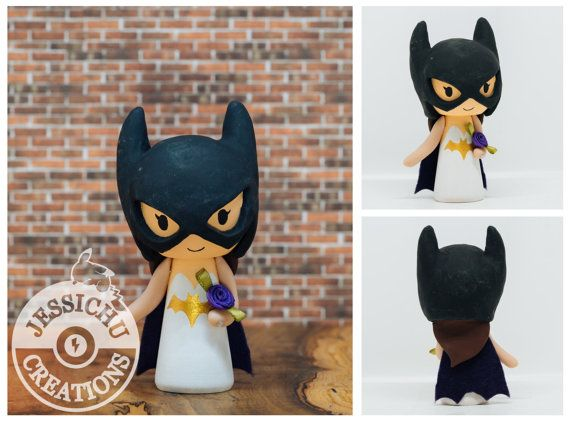 Batman Groom and Batgirl Wedding Cake Topper by JessichuCreations