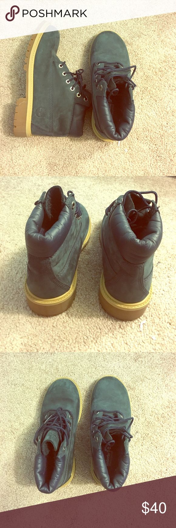 Navy Blue Timberland Boots (US 3) I am selling these because they no longer fit. They were only more a few times (less than 5) and are in great condition! Timberland Shoes Combat & Moto Boots