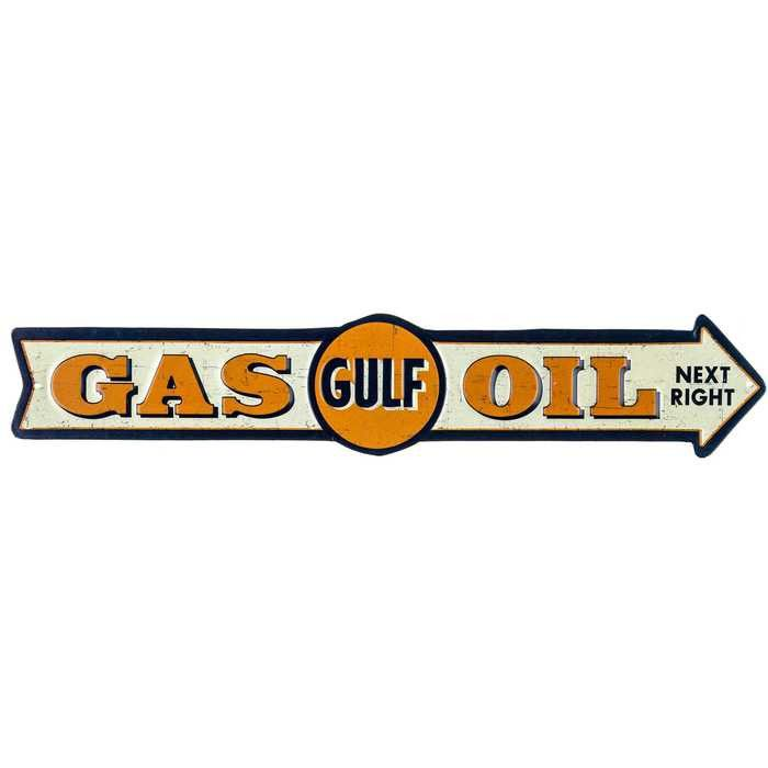 No manly decor is complete without this Gulf Gas & Oil Arrow Tin Sign. The sign has a navy blue background with orange accents and ivory details. The embossed texture and faux distressed finish of thi