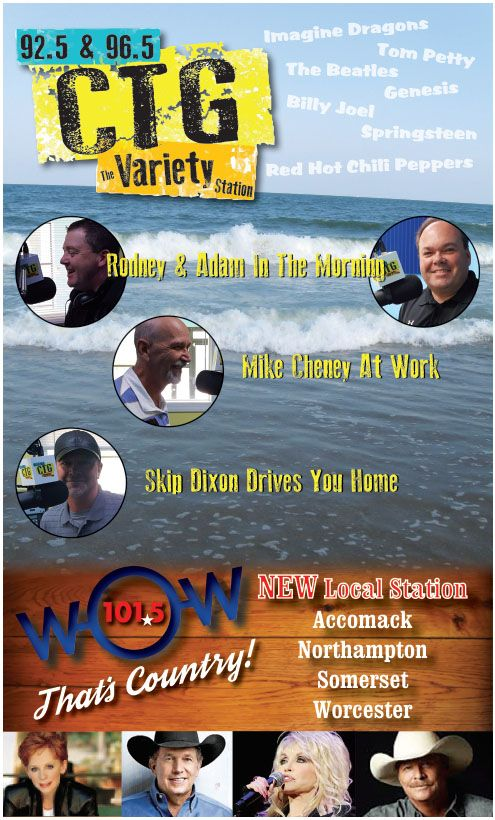 Best variety stations on the Eastern Shore! Tune in to 96.5 or 92.5 for live action broadcasting, Global and local news, Accu Weather, and a rocking selection of great tunes. Check them out at: http://tunein.com/radio/WCTG-965-s99726/
