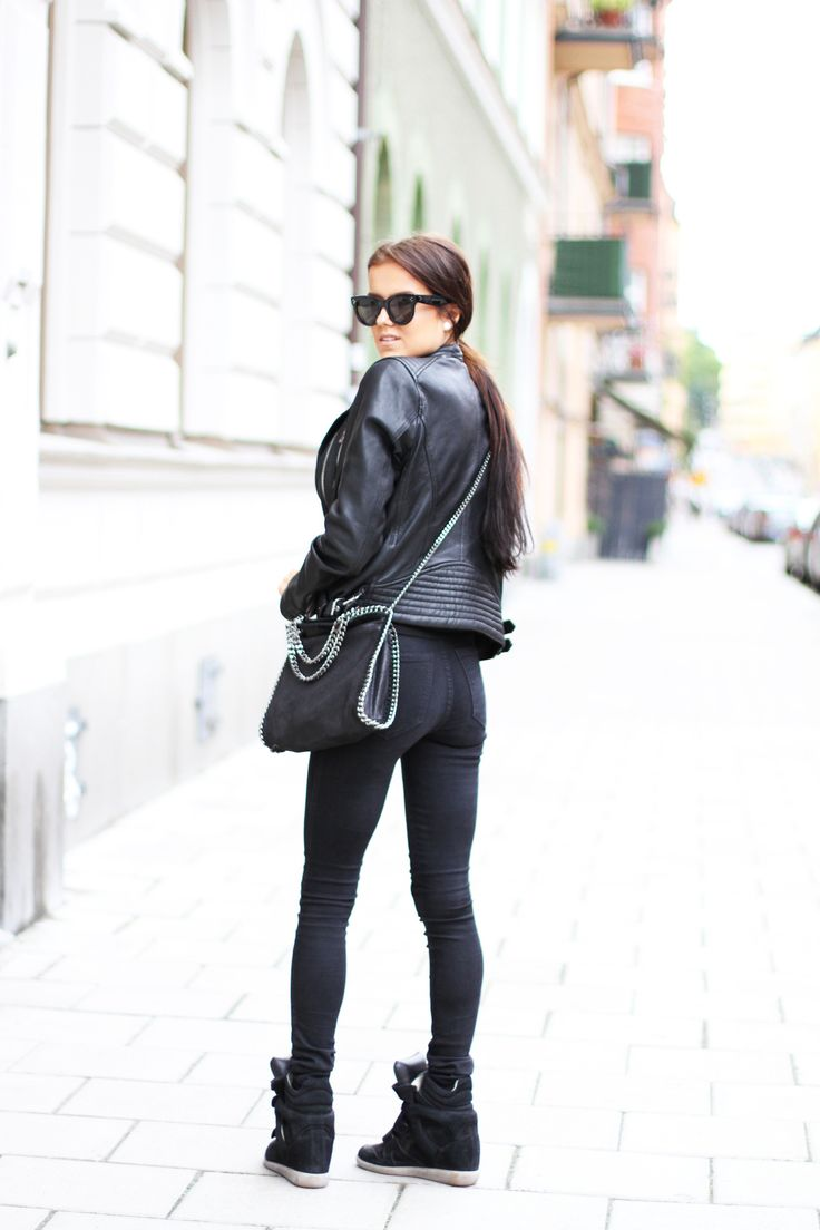 Biker chic: An all black look with a leather jacket, a pair of Isabel Marant wedge sneakers and my new baby, the Stella McCartney Falabella shoulder bag.