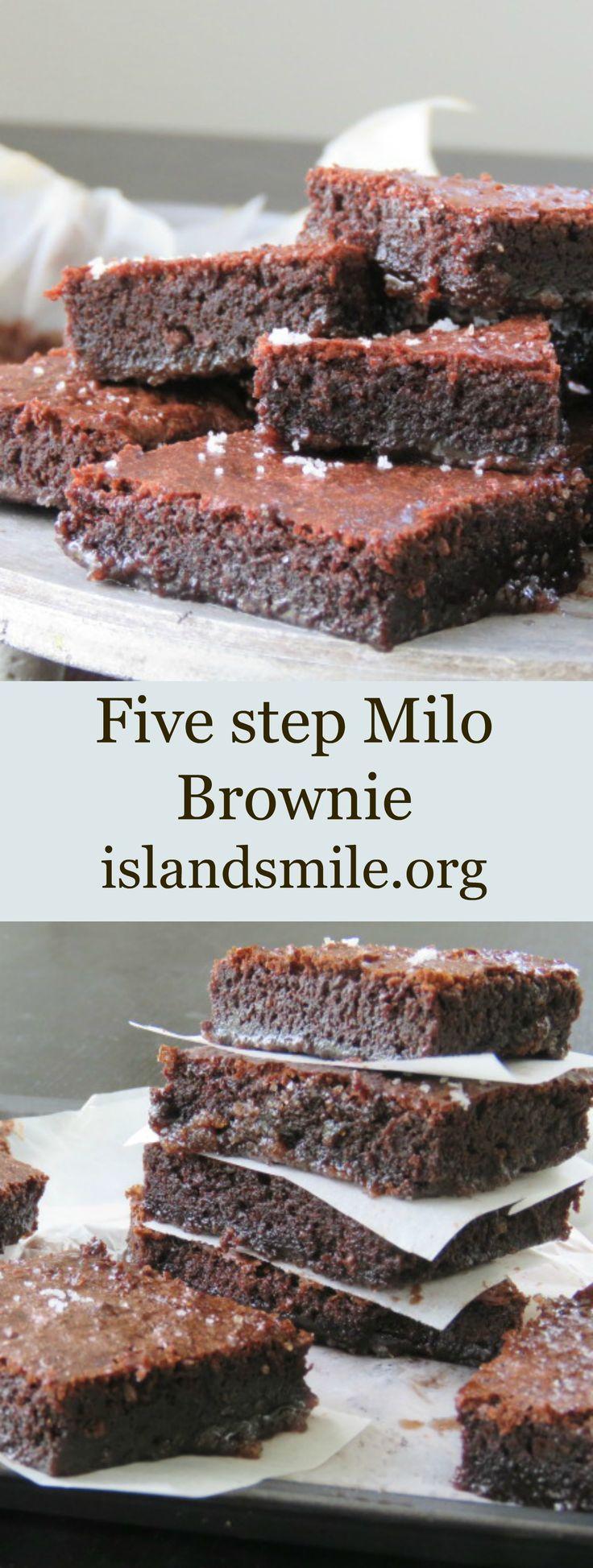 five step milo brownie Ingredients 3 Eggs 1 Teaspoon of Vanilla extract 3/4 vegetable oil 1 1/2 cup sugar 3/4 cup flour 1/2 cup Milo 2 Tablespoons of Cocoa Powder 1 1/2 teaspoon Baking Powder