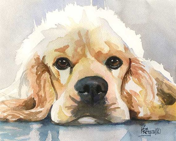 Cocker Spaniel Art Print of Original Watercolor por dogartstudio