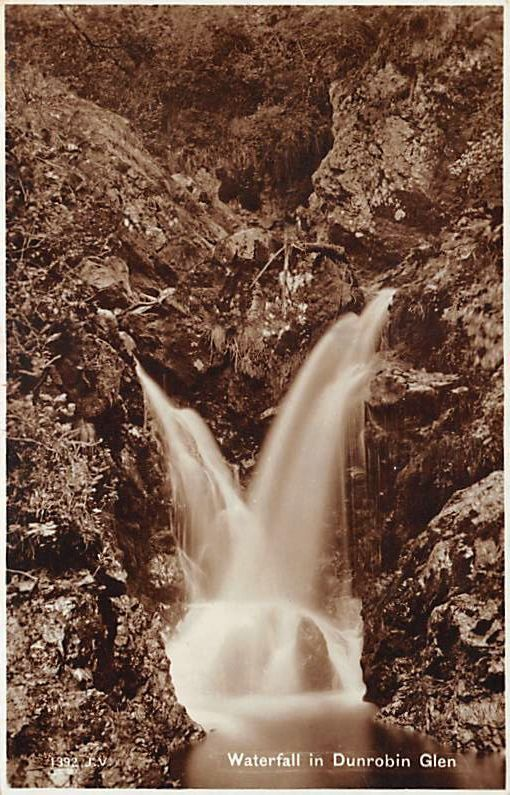 Waterfall in Dunrobin Glen: sepia RP postcard by Valentines