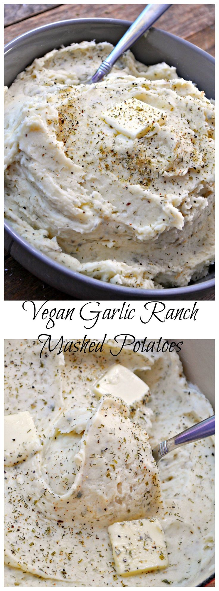 Super creamy dreamy vegan garlic ranch mashed potatoes are the perfect side dish for the holidays(or any time)! Super easy and totally perfect!