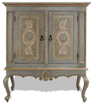 Old World Munich Lowboy Armoire, Pale Turquoise Distressed With Cream and Gold eclectic-armoires-and-wardrobes