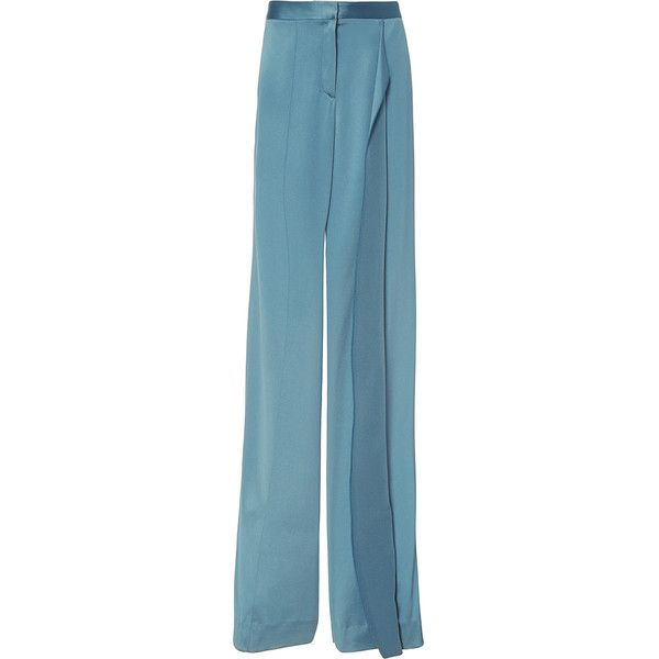 Hellessy     Alto Aqua Wide Leg Pants ($880) ❤ liked on Polyvore featuring pants, blue, ruffle pants, straight leg trousers, aqua pants, wide leg pants and straight leg pants