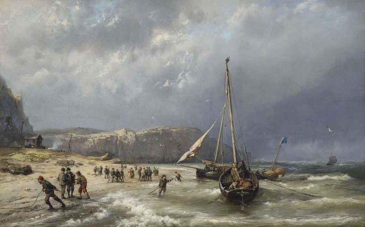 Hermanus Koekkoek - Schuiten op het strand trekken bij hoogwater