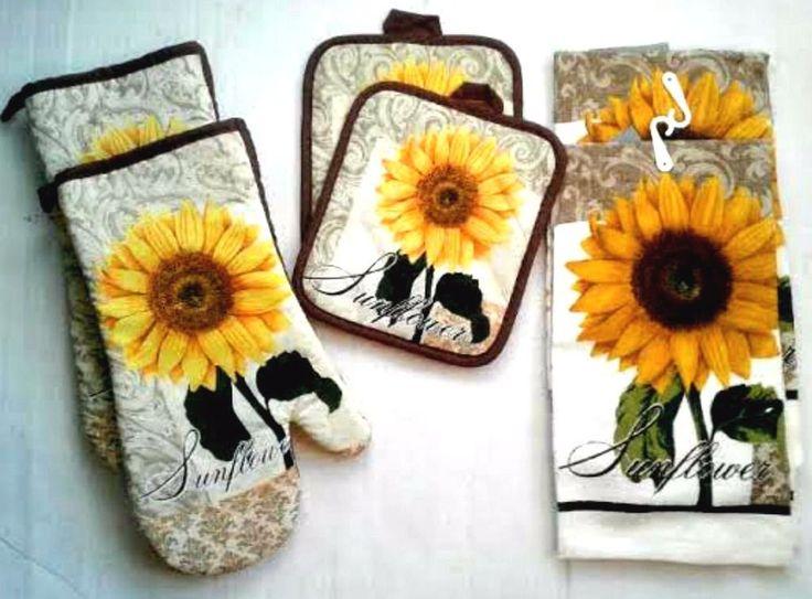 6 Pc Sunflowers Kitchen Linens Set Dishtowels Oven Mitts Potholders #Unbranded