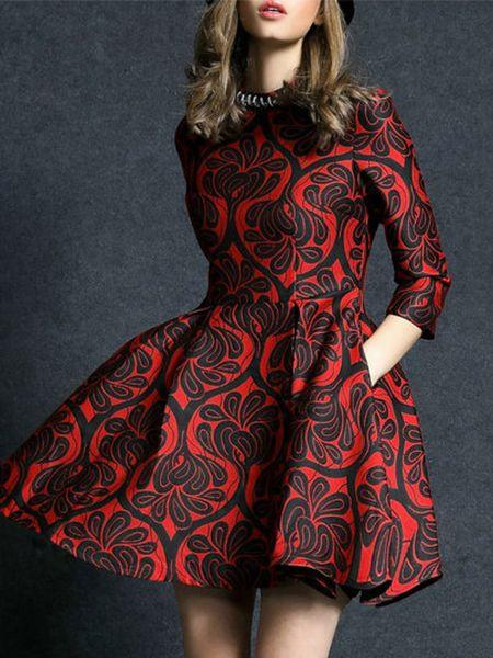 Red Round Neck Length Sleeve Beading Jacquard Pockets Dress