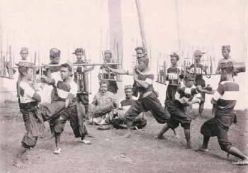 Sundanese. Angklung Buncis, traditional Sundanese music and pencak silat. West Java.