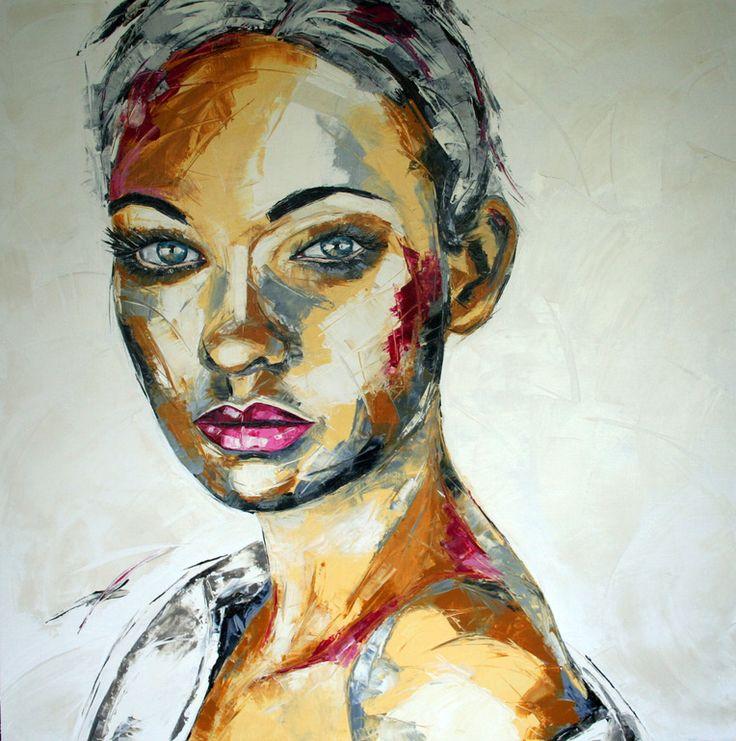 "Saatchi Online Artist: Charlene van den Eng; Oil, 2012, Painting ""Femme 14 light, 120 x 120 cm."""