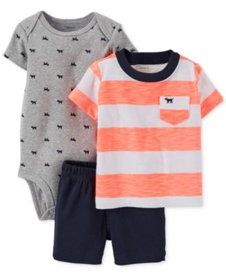 Carter's Baby Boys' 3-Piece Tee, Bodysuit & Shorts Set