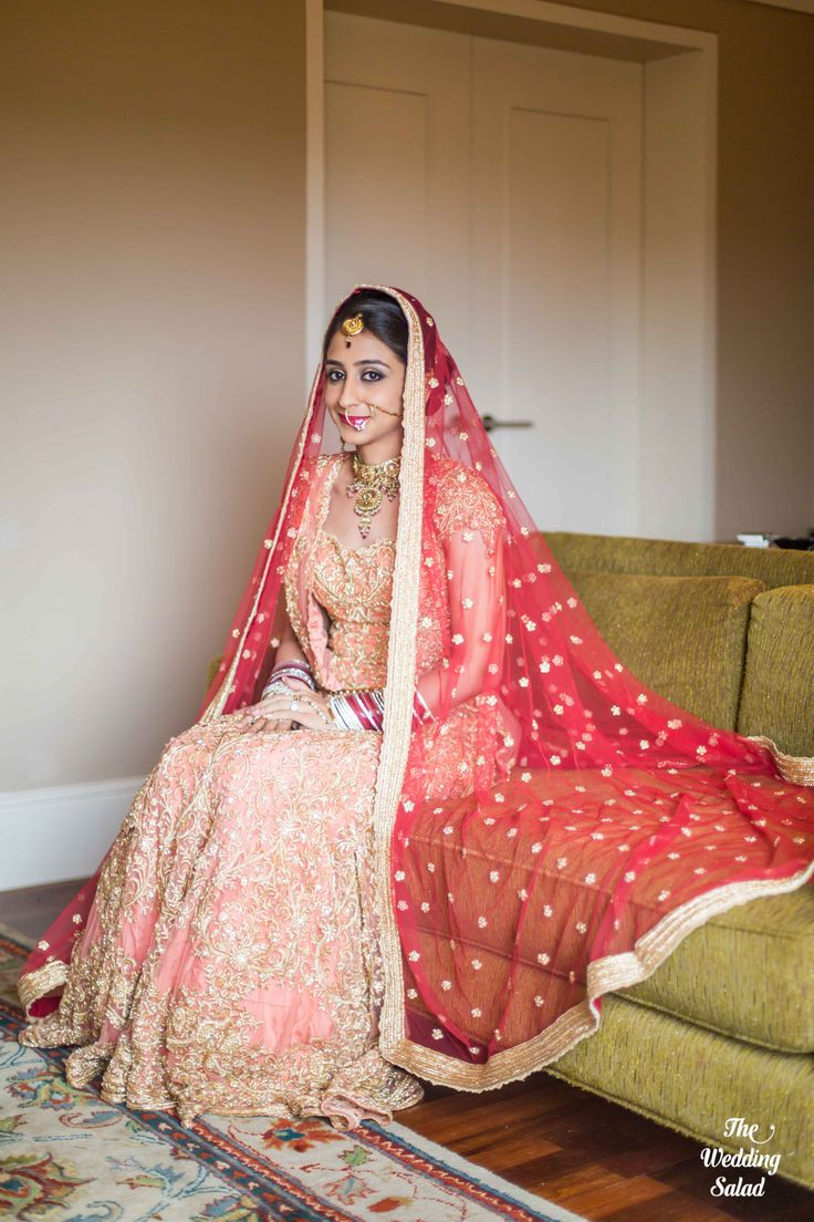 Indian Bride | Peach Lehenga | Photo by The Wedding Salad