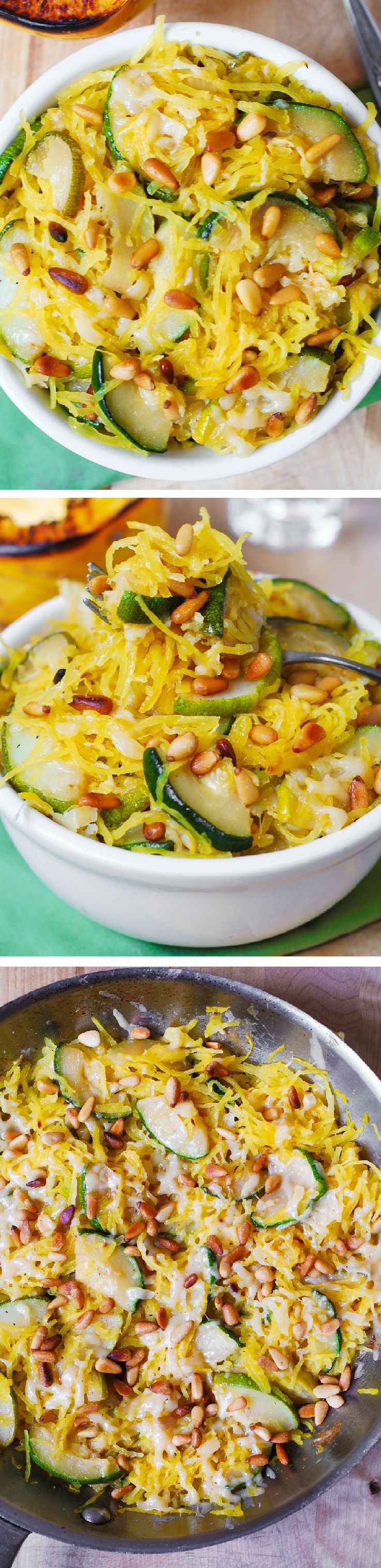 Zucchini cooked with garlic in olive oil, mixed with spaghetti squash, topped with melted, freshly grated, Parmesan cheese AND then sprinkled with toasted pine nuts. Delicious, healthy, gluten free, vegetarian, meatless recipe!