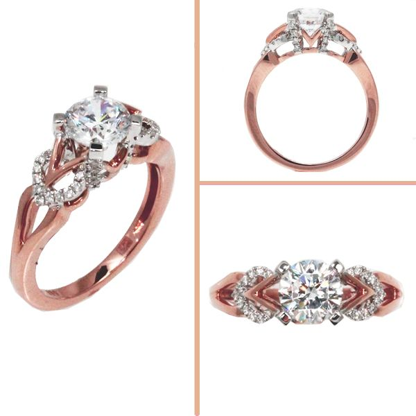 In love with rose gold! Frederic Sage ~ Rose and White Gold with a 1ct center & diamond accents. Ask us for style number: RM166-PW