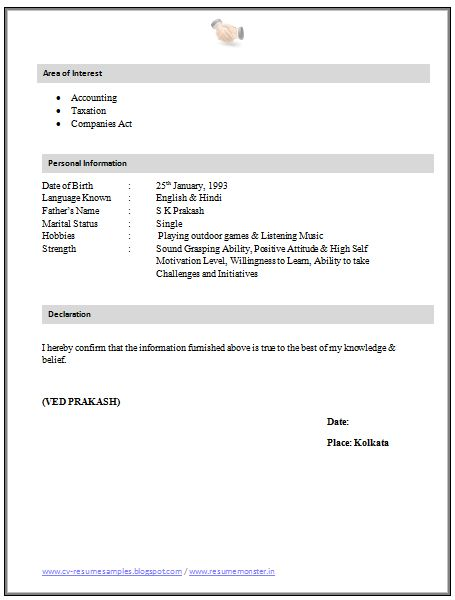 resume sle for articleship 2 career