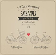 Grunge retro wedding invitation with tandem vintage bicycles vector art illustration